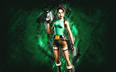 Fortnite Lara Croft Skin, Fortnite, main characters, green stone background, Lara Croft, Fortnite skins, Lara Croft Skin, Lara Croft Fortnite, Fortnite characters