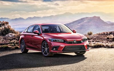 2022, Honda Civic Sedan, 4k, front view, exterior, red sedan, new red Civic 2022, japanese cars, Civic Sedan 2022, Honda