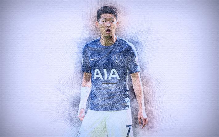 Download Wallpapers Son Heung-min, 4k, Artwork, Football
