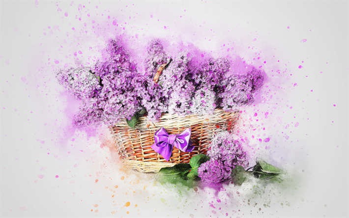 Download wallpapers lilac spring flowers art painted lilac lilac spring flowers art painted lilac basket with flowers watercolor mightylinksfo