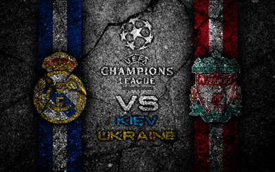 4k, Real Madrid vs Liverpool, logotipos, obras de arte, 2018 final da UEFA Champions League, logo, Kiev 2018, pedra preta, 26 de Maio de final de Kiev, UEFA Champions League, futebol, Liverpool, Kiev, Ucrânia, O Real Madrid