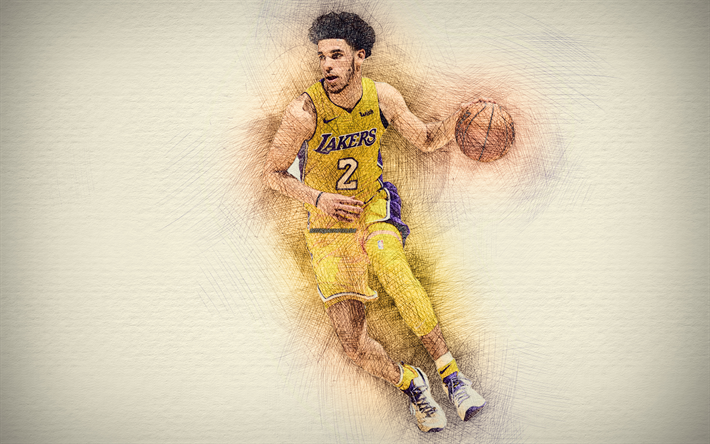 Lonzo Ball, 4k, artwork, basketball stars, Los Angeles Lakers, NBA,