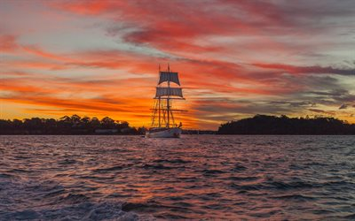 big white sailboat, evening, sunset, white ship, sailboat, waves