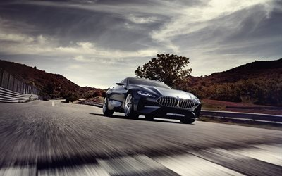 2017 cars, BMW 8-Series Concept, road, movement, supercars, german cars, BMW