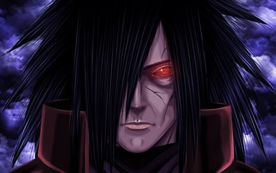 Madara Uchiha, art, manga, Naruto, red eye