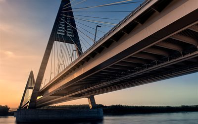 Medieri Bridge, river, Danube, Budapest, sunset, Hungary