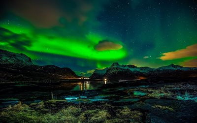 Lofoten Islands, northern lights, polar night, aurorae, Norway