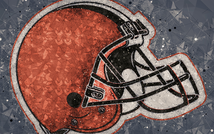 Download Wallpapers Cleveland Browns, 4k, Logo, Geometric