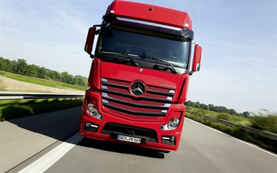 Mercedes-Benz Actros, front view, new red Actros, German trucks, cargo transportation concepts, Mercedes