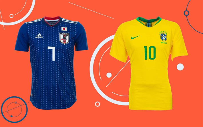 online store 816a5 4c1c5 Download wallpapers Japan vs Brazil, football game, T-shirts ...