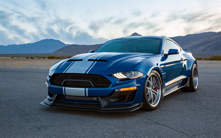 download wallpapers ford mustang shelby super snake 2018 front view tuning mustang blue. Black Bedroom Furniture Sets. Home Design Ideas
