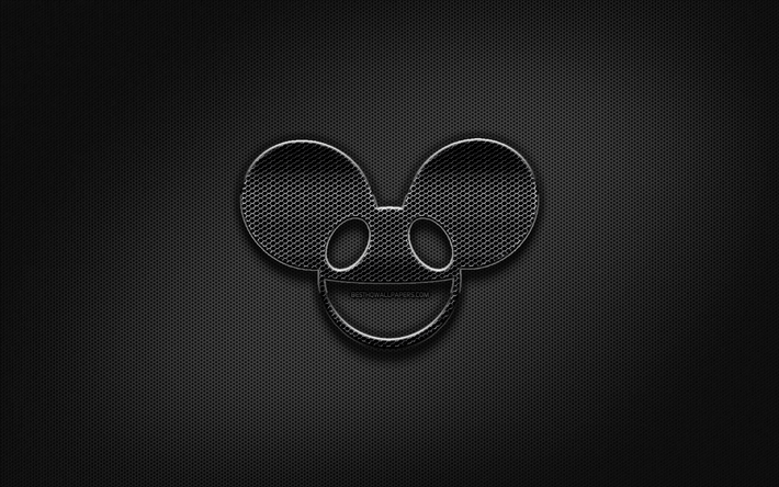 Deadmau5 black logo, creative, metal grid background, Deadmau5 logo, brands, Deadmau5