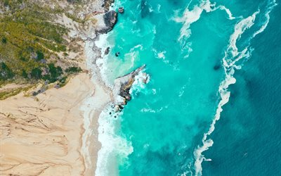 ocean coast, view from above, aerial view, waves, beach, rocks, ocean waves