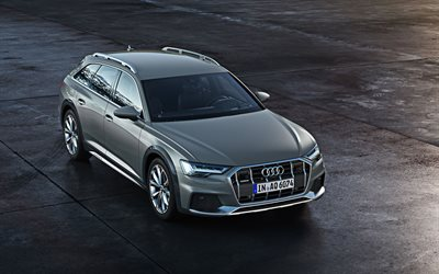 Audi A6 Allroad Quattro, 2020, 4k, gray wagon, exterior, front view, new gray A6 Allroad Quattro, German cars, Audi
