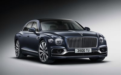 Bentley Flying Spur, 2020, exterior, front view, luxury car, new gray Flying Spur, British cars, Bentley