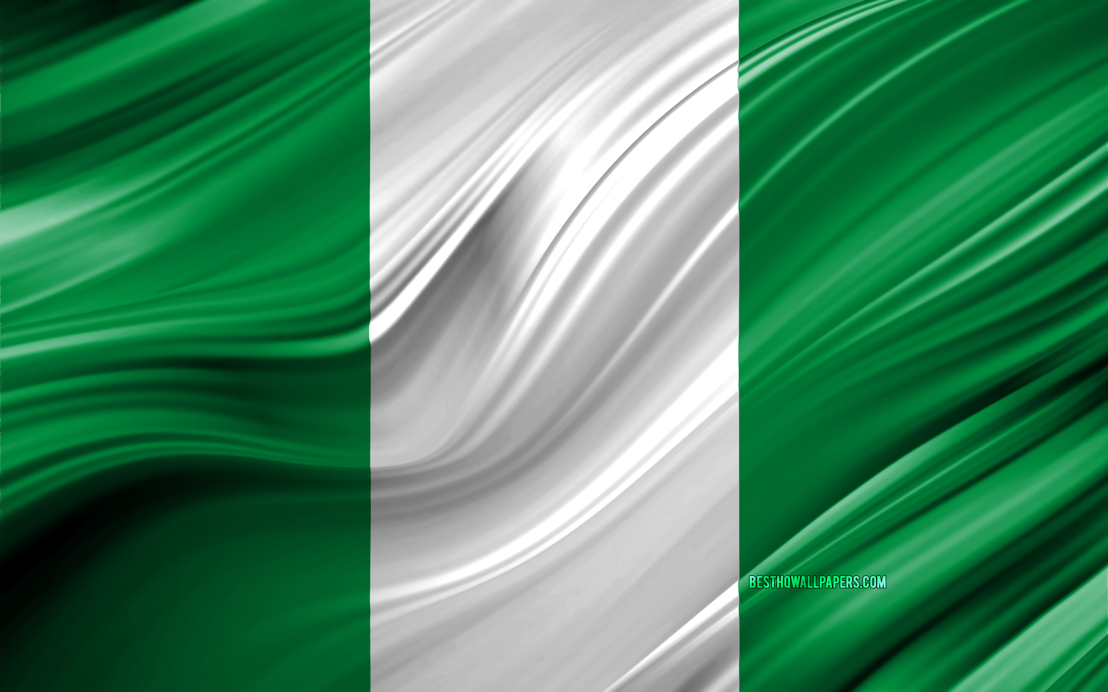 4k, Nigerian flag, African countries, 3D waves, Flag of Nigeria, national symbols, Nigeria 3D flag, art, Africa, Nigeria