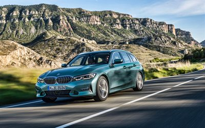 BMW 330d xDrive Touring, 4k, road, 2019 cars, G21, 2019 BMW 3-series, german cars, BMW G21, BMW