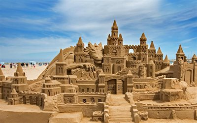 Valencia, beach, sand castle, Spain, coast, sea, Malvarrosa beach
