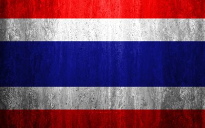 Flag of Thailand, 4k, stone background, grunge flag, Asia, Thailand flag, grunge art, national symbols, Thailand, stone texture