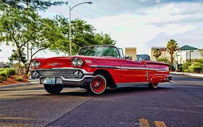 Chevrolet Impala Convertible, HDR, tuning, 1958 cars, retro cars, lowrider, customized chevrolet impala, american cars, Chevrolet, 1958 Chevrolet Impala Convertible