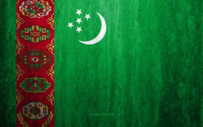 Flag of Turkmenistan, 4k, stone background, grunge flag, Asia, Turkmenistan flag, grunge art, national symbols, Turkmenistan, stone texture