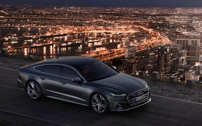 Audi S7 Sportback, 2019, front view, exterior, new gray S7 Sportback, cityscape, german cars, Audi