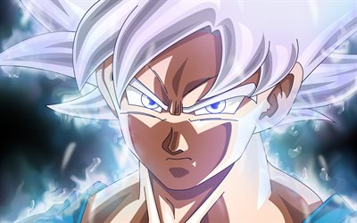 4k, Ultra Instinct Goku, close-up, angry Goku, DBS characters, Dragon Ball Super, angry goku, Super Saiyan God, Dragon Ball, Mastered Ultra Instinct, Migatte No Gokui