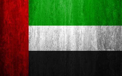Flag of United Arab Emirates, 4k, stone background, grunge flag, Asia, UAE flag, grunge art, national symbols, United Arab Emirates, stone texture, Flag of UAE