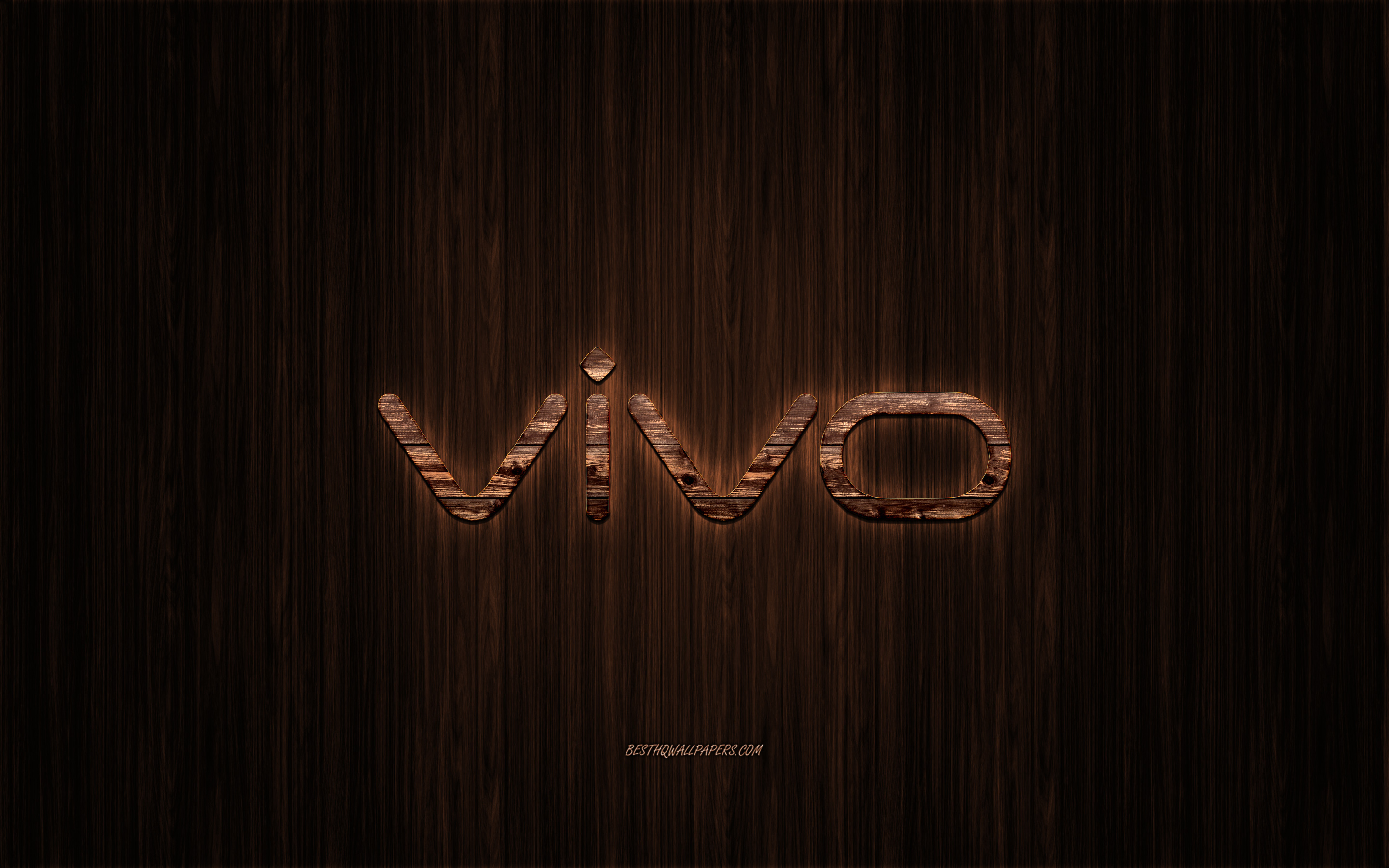 Vivo logo, wooden logo, wooden background, Vivo, emblem, brands, wooden art