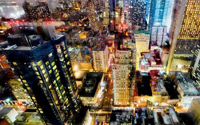 New York, night cityscape, skyscrapers, city lights, metropolis, USA