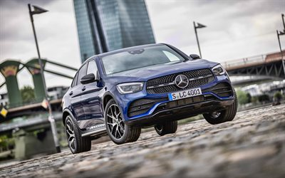 4k, Mercedes-Benz GLC Coupe, bokeh, 2019 cars, parking, blue GLC Coupe, german cars, 2019 Mercedes-Benz GLC Coupe, Mercedes