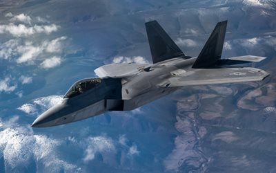 Lockheed Martin F-22 Raptor, fifth generation fighter, American fighter, F-22, USAF, Boeing, United States Air Force, modern combat aircraft