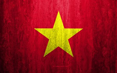 Flag of Vietnam, 4k, stone background, grunge flag, Asia, Vietnam flag, grunge art, national symbols, Vietnam, stone texture