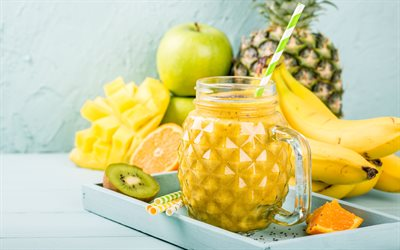 Pineapple smoothies, 4k, fruits, breakfast, smoothie in pineapples, healthy food, fruit smoothies
