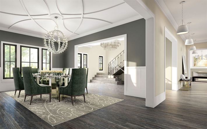 stylish interior design, country house, living room, ornament on the ceiling, gray floor, classic style of the interior