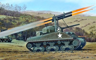 T34 Calliope, Rocket Launcher T34, World War II, M4 Sherman, M4A3, US Army