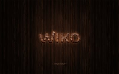 Wiko logo, wooden logo, wooden background, Wiko, emblem, brands, wooden art