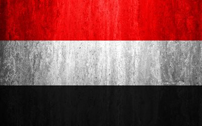 Flag of Yemen, 4k, stone background, grunge flag, Asia, Yemen flag, grunge art, national symbols, Yemen, stone texture