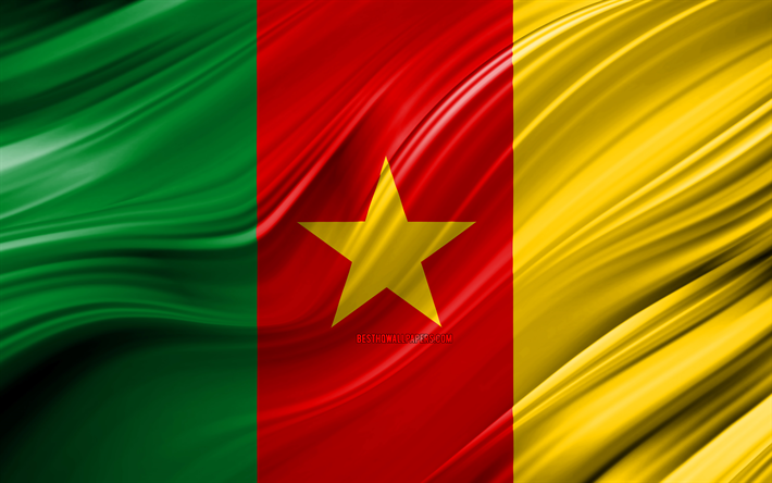4k, Cameroon flag, African countries, 3D waves, Flag of Cameroon, national symbols, Cameroon 3D flag, art, Africa, Cameroon
