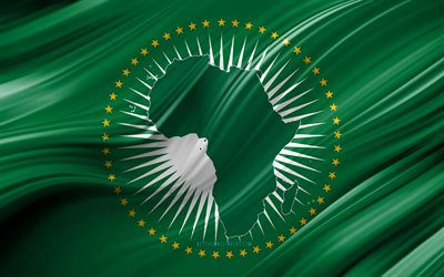 4k, African Union flag, African countries, 3D waves, Flag of African Union, national symbols, African Union 3D flag, art, Africa, African Union