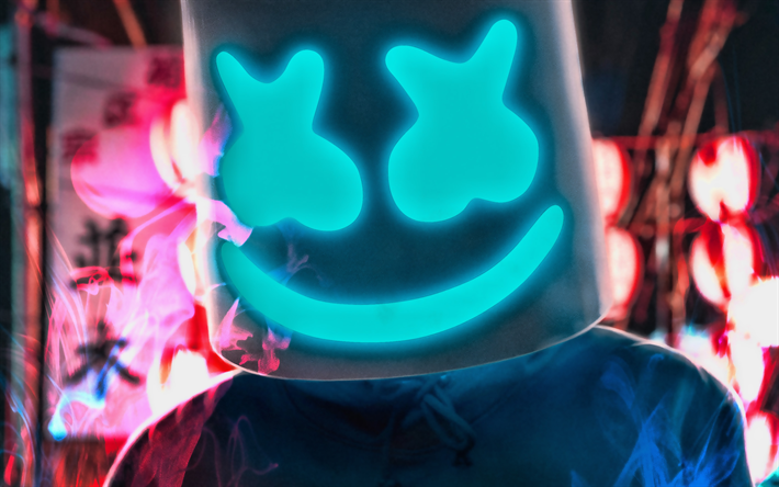 Marshmello in nightclub, night party, close-up, Christopher Comstock, concert, Marshmello on stage, DJ Marshmello, superstars, Marshmello, DJs