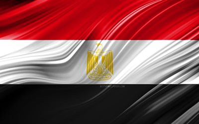 4k, Egyptian flag, African countries, 3D waves, Flag of Egypt, national symbols, Egypt 3D flag, art, Africa, Egypt
