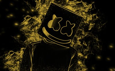 Marshmello, American DJ, golden smoke silhouette, black background, creative art