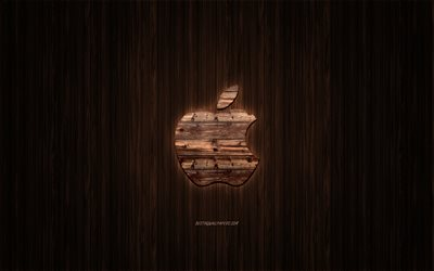 Apple logo, wooden logo, wooden background, Apple, emblem, brands, wooden art
