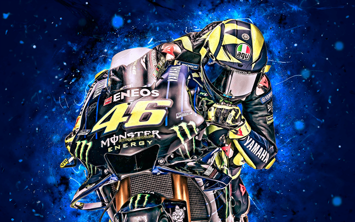 Valentino Rossi, 4k, close-up, MotoGP, 2019 bikes, raceway, Yamaha YZR-M1, Valentino Rossi on track, neon lights, racing bikes, Monster Energy Yamaha MotoGP, night, Yamaha