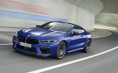 BMW M8 Competition, 2020, exterior, front view, blue sports coupe, new blue M8, German sports cars, BMW