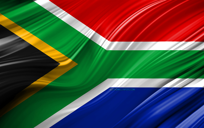 4k, South African flag, African countries, 3D waves, Flag of South Africa, national symbols, South Africa 3D flag, art, Africa, South Africa