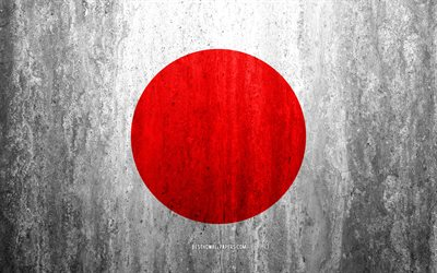 Flag of Japan, 4k, stone background, grunge flag, Asia, Japanese flag, grunge art, national symbols, Japan, stone texture