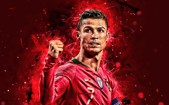 4k, Cristiano Ronaldo, 2019, Portugal National Team, soccer, CR7, neon lights, close-up, joyful Cristiano Ronaldo, Portuguese football team