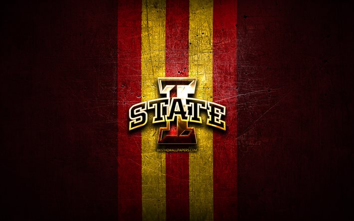 download wallpapers iowa state golden logo ncaa red metal background american football club iowa state logo american football usa for desktop free pictures for desktop free download wallpapers iowa state golden